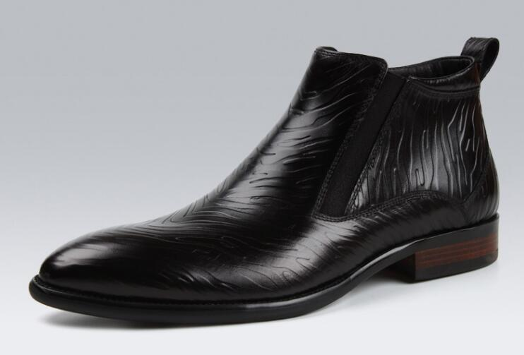 De Británico Banda Estilo Genuino Elástico Moda Hombre rojo Cuero Tobillo Plisado invierno Chelsea Primavera Zapatos Botas Casual Negro Alta Top zwnXxOS4q