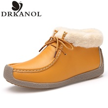 Women Shoes Genuine Leather Women Ankle Boots   Autumn Winter Casual Flats Comfortable Sewing Snow Boots Plush Warm Winter Shoes