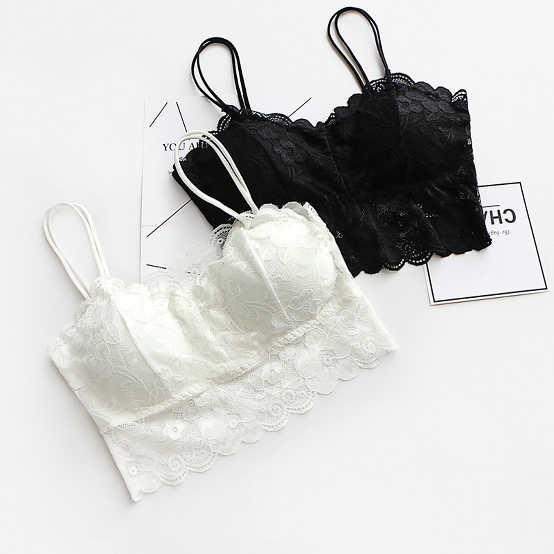 Summer fashion transparent black and white sexy lace floral bra girl bra with a sweet lace bra