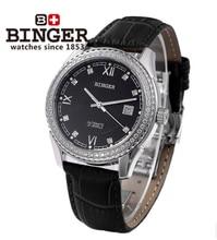 Binger Watch Fashion Platinum Case Date Black Dial men automatic watch Cow Leather Band mechanical Sport Switzerland WristWatch
