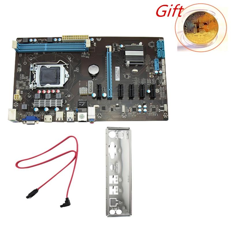 Stable 6 GPU Riser PCI Mining Machine Motherboard Board Bitcoin PCI Express 16X Miner Board ATX Power Supply for BTC LTC Miner