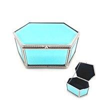 Kadın Zarif güzellik kozmetik takı kutusu elmas sağlam cam paslanmaz çelik metal makyaj kutusu banyo organizatör hediye karısı