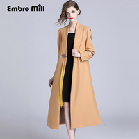 High end winter trench coats for women vintage Elegant Floral wool embroidery loose lady Camel Christmas overcoat female S XXL