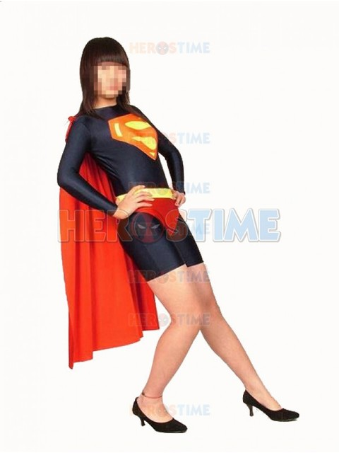 Black & Red Leotard Style Supergirl Superhero Costume Spandex Adult Female  Halloween Cosplay Costumes Hot Sale Free Shipping