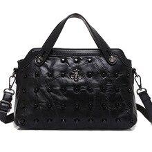 Women Genuine Leather Sheepskin Handbags Rivet Shoulder Bags Ladies Tote Bags Crossbody Bags High Quality Bolsa Feminina FR249