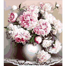 DIY Diamond painting picture Square \ mosaic Round Rhinestone Full pink embroidery Flowers in a vase