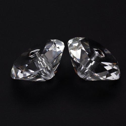 JFBL Hot 1 Pair of Diamond-Shape Crystal Glass Door Cabinet Knob Pull