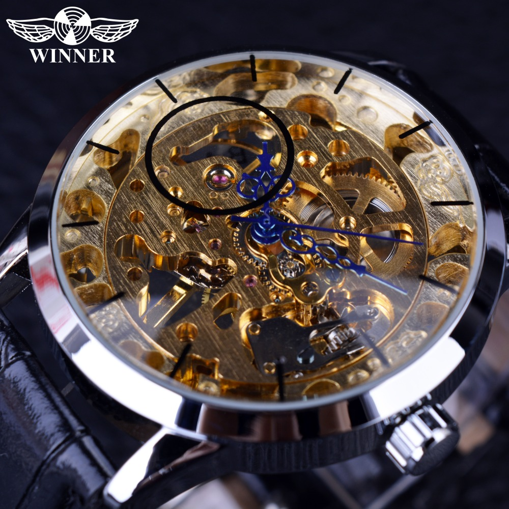 Winner Transparent Blue Hands Skeleton Golden Dial Wristwatch Mens Watches Top Brand Luxury Fashion Men Casual Mechanical Watch winner classic retro design transparent golden case back mens watches top brand luxury automatic male mechanical skeleton watch