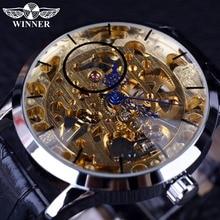 Winner Transparent Blue Hands Skeleton Golden Dial Wristwatch Mens Watches Top B