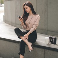 Two Piece Office Work Wear Mandarin Collar Autumn Women Business Suit Sexy Chiffon Shirt Tops And Black Pants Suit