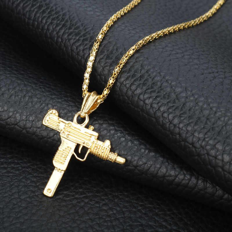 ヒップホップジュエリーウジ短機関銃ネックレス男性女性長鎖ペンダントネックレスチャームコリアー