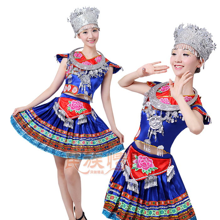 2019 new halloween clothing Miao Dai womens dance costumes Chinese minority performers stage performance clothing set