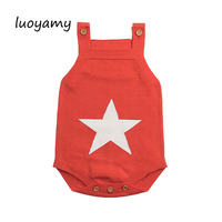 luoyamy Summer Sleeveless Bodysuits For Boys White Star Knit Newborn Baby Girls Coveralls Toddler Sun suit Children Body Suit