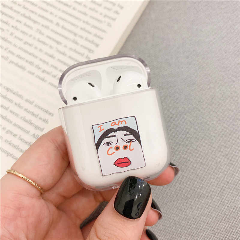Funny Nostril For Airpods case Cartoon Pig Transparent hard Cases For Air Pods case Bluetooth Earphone Charging Box for airpod 2