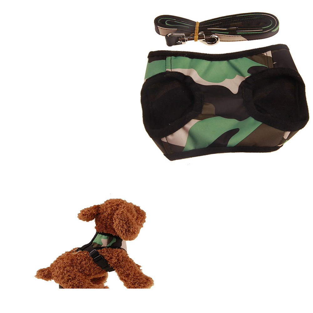 1Set Camouflage High Quality Canvas Small Dog Pet Vest Strap+Traction Rope S/M/L/XL Dog Puppy Pet Harness and Matched Leashes