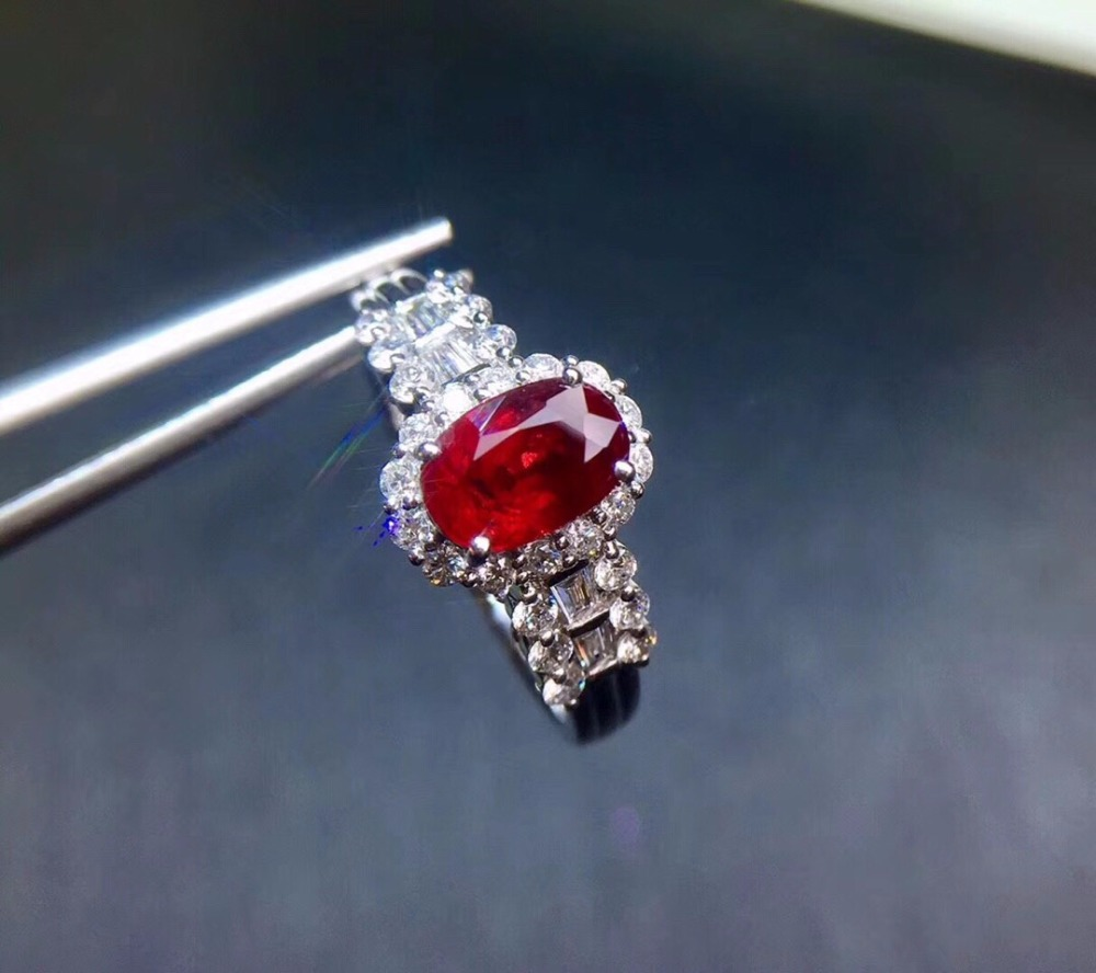 Fine Jewelry Pure 18 K White Gold Real Natural Pigeon Blood Red Ruby 1.01ct Diamonds Jewelry Female's Rings for Women Fine Ring