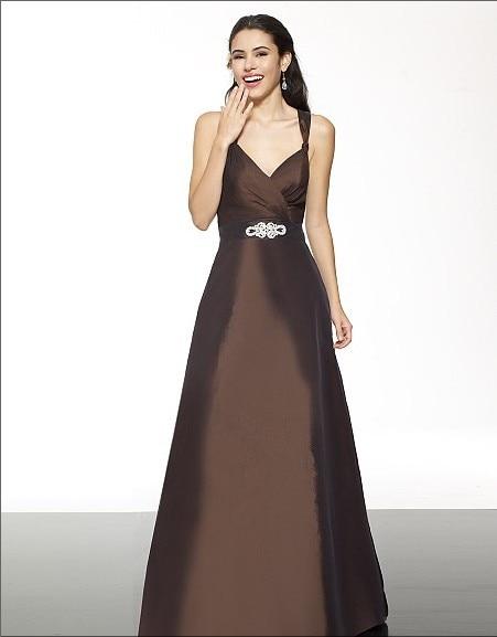 free shipping 2014 Taffeta A-line sweetheart straps open back crisscross natural waist rhinestones floor length   bridesmaid     dress