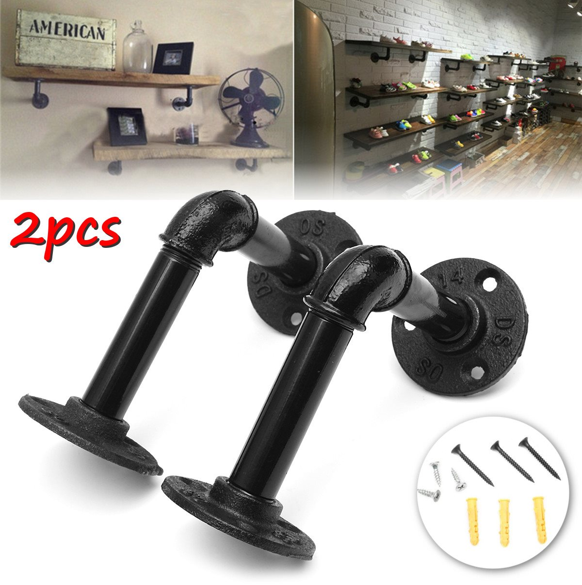 pipe shelf bracket holder 2pcs set industrial with screws. Black Bedroom Furniture Sets. Home Design Ideas