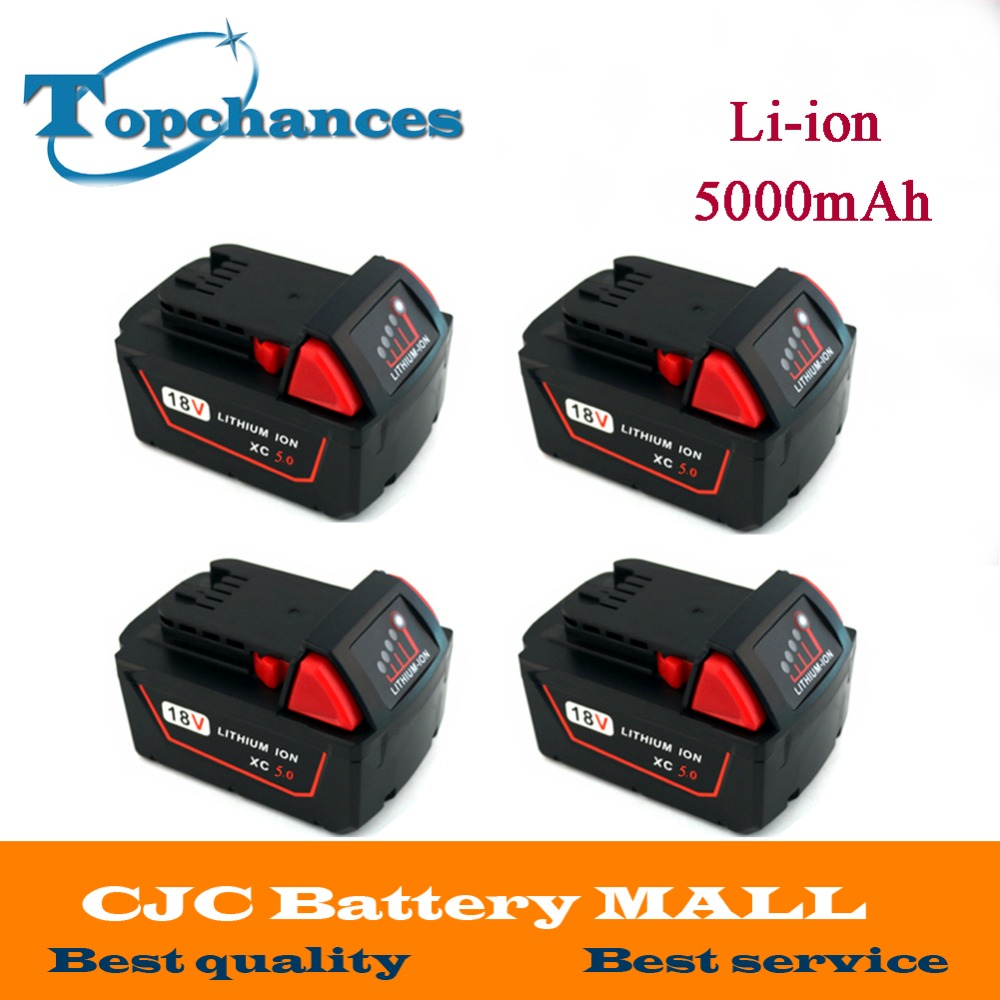 4X High Quality 18V 5000mAh Li-Ion Replacement Power Tool Battery for Milwaukee M18 XC 48-11-1815 M18B2 M18B4 M18BX Li18 18v li ion 3000mah replacement power tool battery for milwaukee m18 xc 48 11 1815 m18b2 m18b4 m18bx li18 with power charger