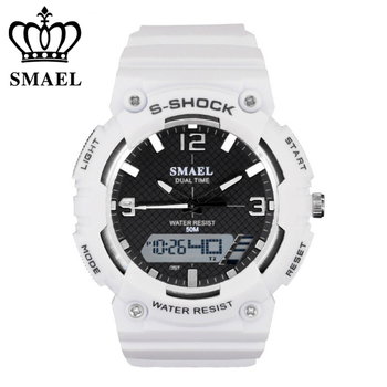 SMAEL Brand Men Women Watches Fashion Digital Pointer Double Display Electronic Watch Luminous Alarm Clock Student Wristwatches
