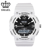 SMAEL Brand Men Women Watches Fashion Digital Pointer Double Display Electronic Watch Luminous Alarm Clock Student