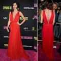 Selena Gomez Deep V Neck Beaded Sexy See Through Side Open Back Red Long Sparkly Celebrity Dresses Special Occasion Dress