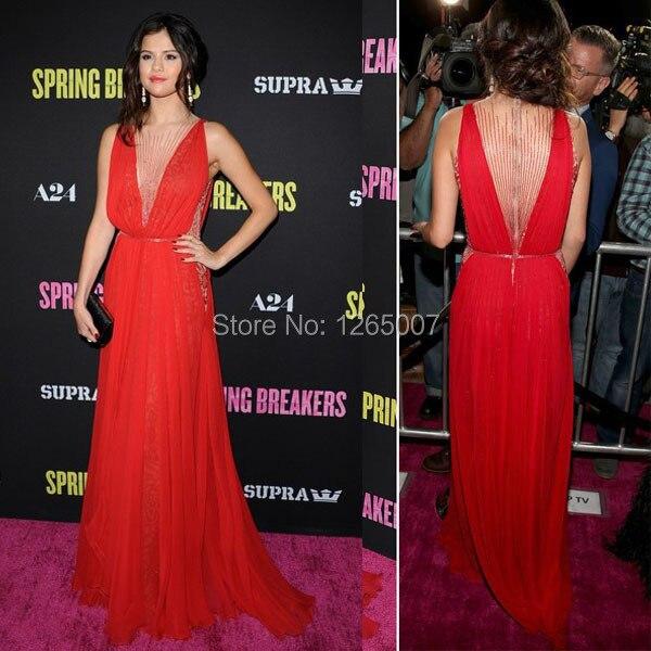 Aliexpress.com : Buy Selena Gomez Deep V Neck Beaded Sexy See ...