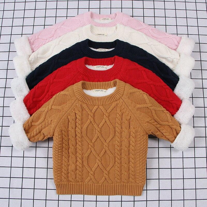 1-7 Jahr Baby Jungen Mädchen Pullover Winter Langarm Gestrickte Pullover Kleidung Kinder Herbst Dicke Samt Mantel Outwear
