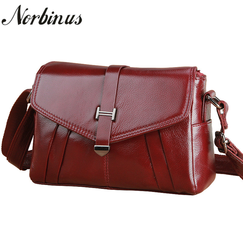 Norbinus Luxury Designers Women Messenger Bag Genuine Leather Crossbody Bags for Women Cow Leather Handbags Shoulder Bag Totes shunruyan 100% genuine leather women handbags totes leisure crossbody messenger bags cow leather women shoulder bag