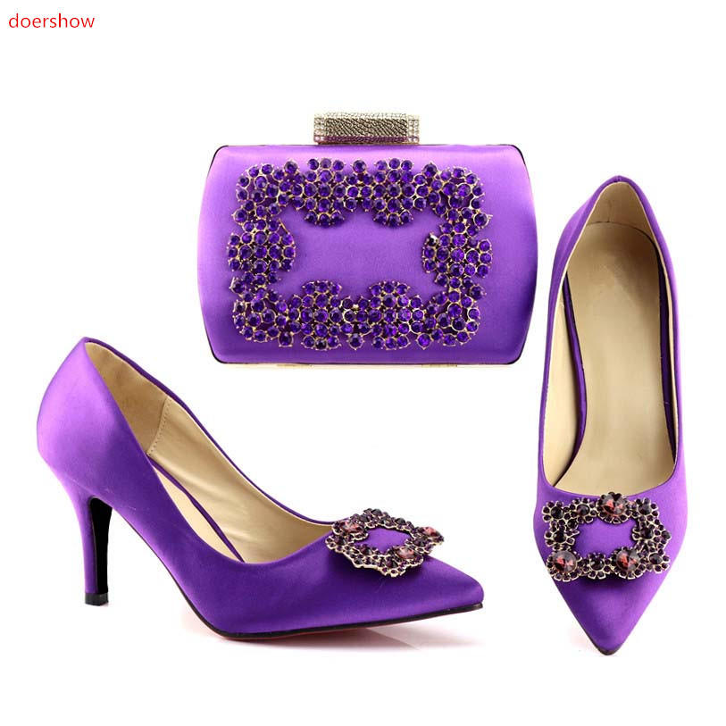 doershow 2018 Charming Italian Shoes With Matching Bags Rhinestones High Quality African Shoes And Bags Set for Wedding SHV1-74 doershow fashion women italian matching shoe and bags set with rhinestones high quality african wedding shoes and bag hvb1 87