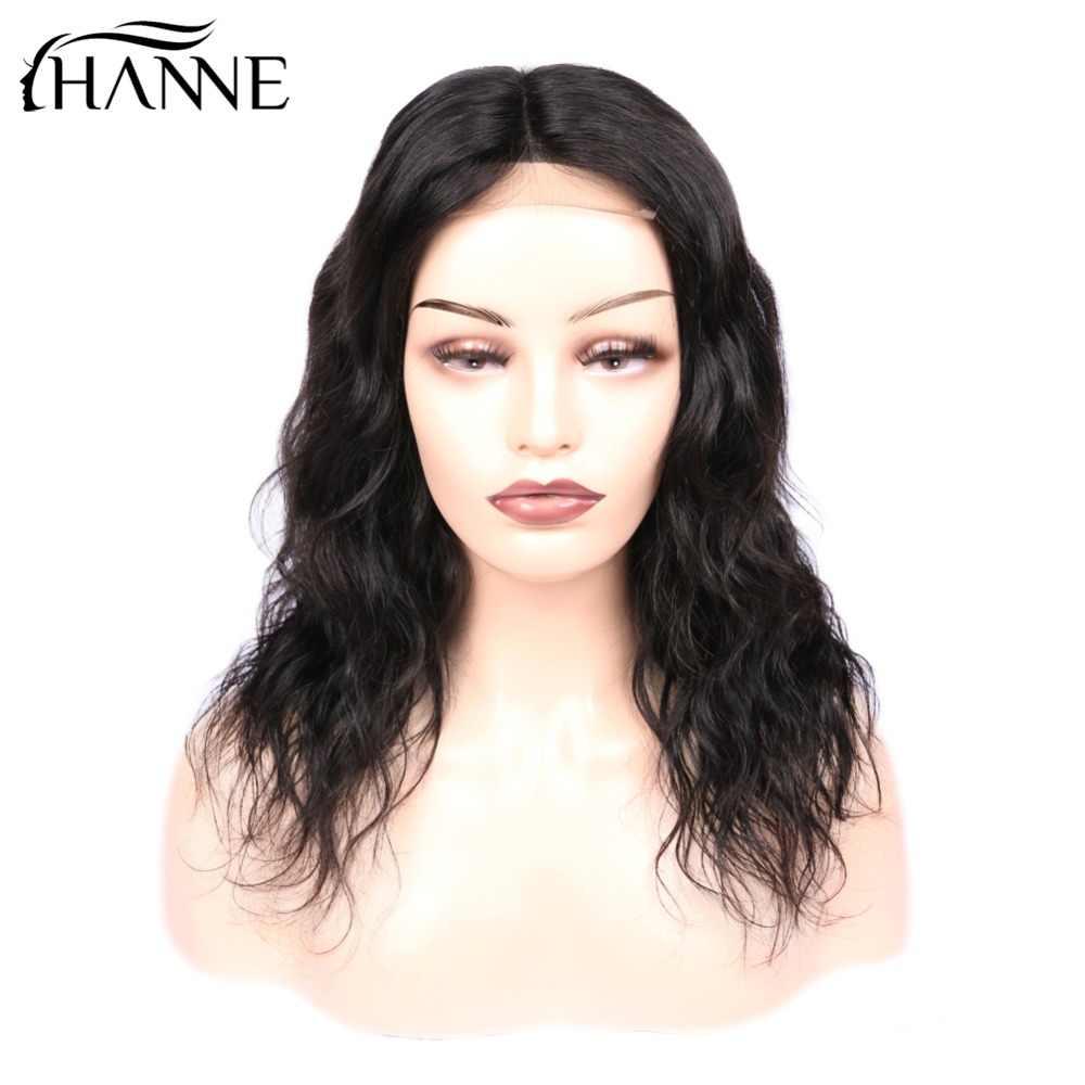 Curto 4*4 Peruca Fechamento Rendas Onda Naturais Remy Rendas L/M/R 3 Parte Do Cabelo Humano perucas para As Mulheres 150% Densidade Cor Natural HANNE