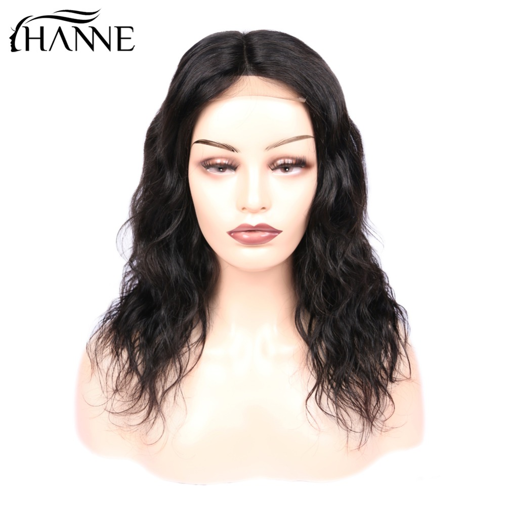 Short 4*4 Lace Closure Wig Remy Natural Wave Lace  L/M/R 3 Part Human Hair Wigs For Women 150% Density Natural Color HANNE