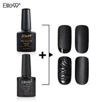 Elite99 10ml Matt Matte Top Coat Nail Gel Polish And 7.3ml Black Gel Polish with Free Nail Art Tips Dull Finish Top Coat Gel