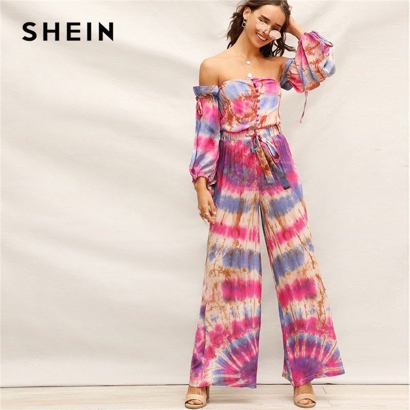19d2ff6e260d Cheap Pants & Capris, Buy Directly from China Suppliers:SHEIN Boho  Multicolor Drawstring Waist