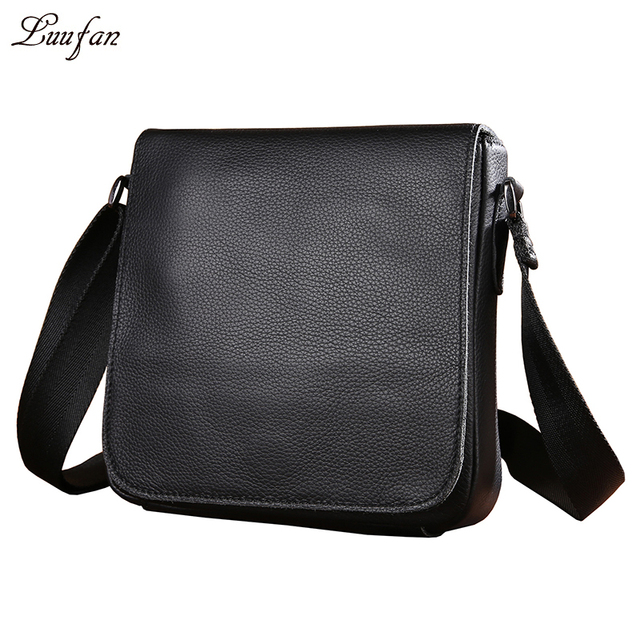 Men s genuine Leather shoulder bag for iPad Mini Cute Black soft Real  leather messenger bag Small Cowhide satchel bag fast post bc18ce96f7b13