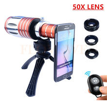 Camera Lens Kit 50X Metal Telephoto Zoom Lentes+Tripod+Case+Fisheye Wide Angle Macro Lenses For iPhone 7 6 6s Plus 5 5s Samsung