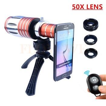 50X Metal Teleobjetivo Zoom Lentes Lente de la cámara Kit + Tripod + Case +  Fisheye Gran Angular Macro lentes Para el iphone 4 5 5C 5S SE 6 6 S 7 Plus