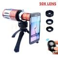 50X Metal Teleobjetivo Zoom Lentes Lente de la cámara Kit + Tripod + Case + Fisheye Gran Angular objetivos macro para iphone 7 6 6 s más 5 5S samsung