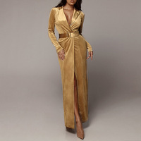 Fashion Yellow Wine Red Maxi Women Dress High Quality Autumn Winter Long Sleeve Bodycon Sashes Celebrity Evening Party Dresses
