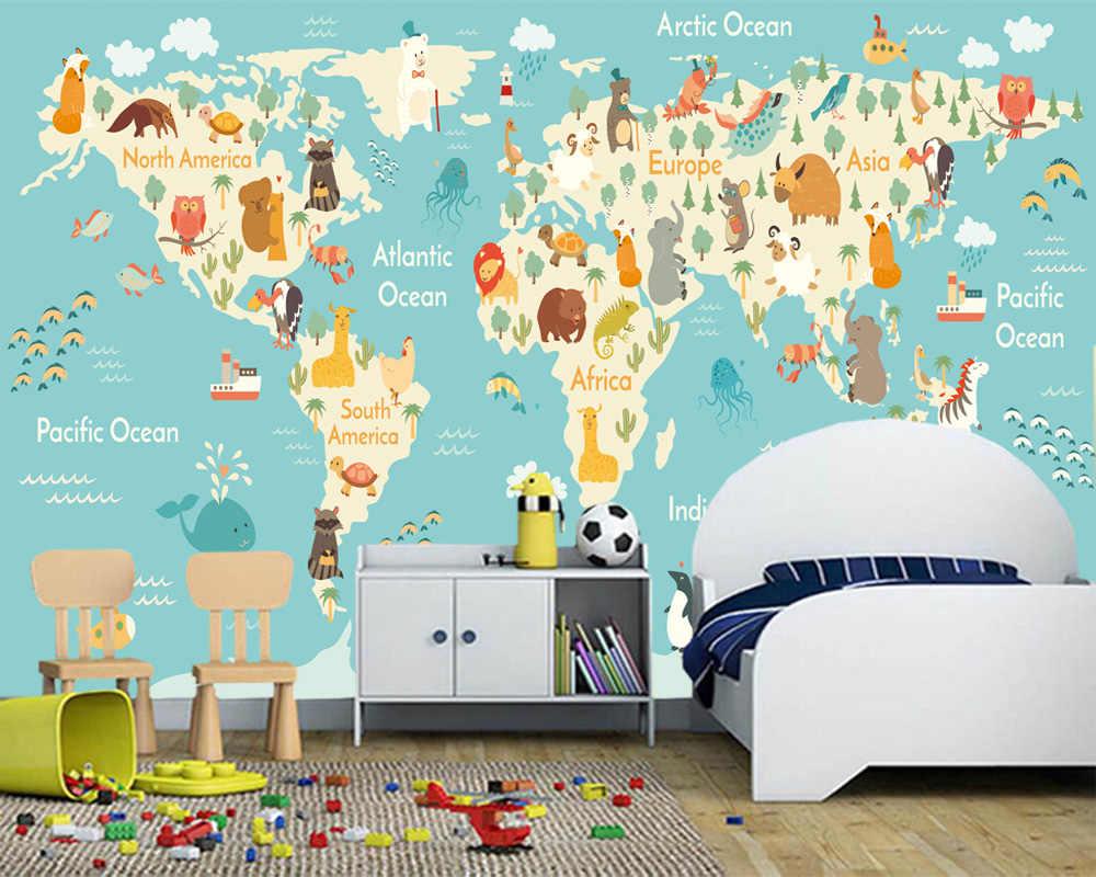 Custom Children Wallpaper Cartoon World Map Murals For The Living