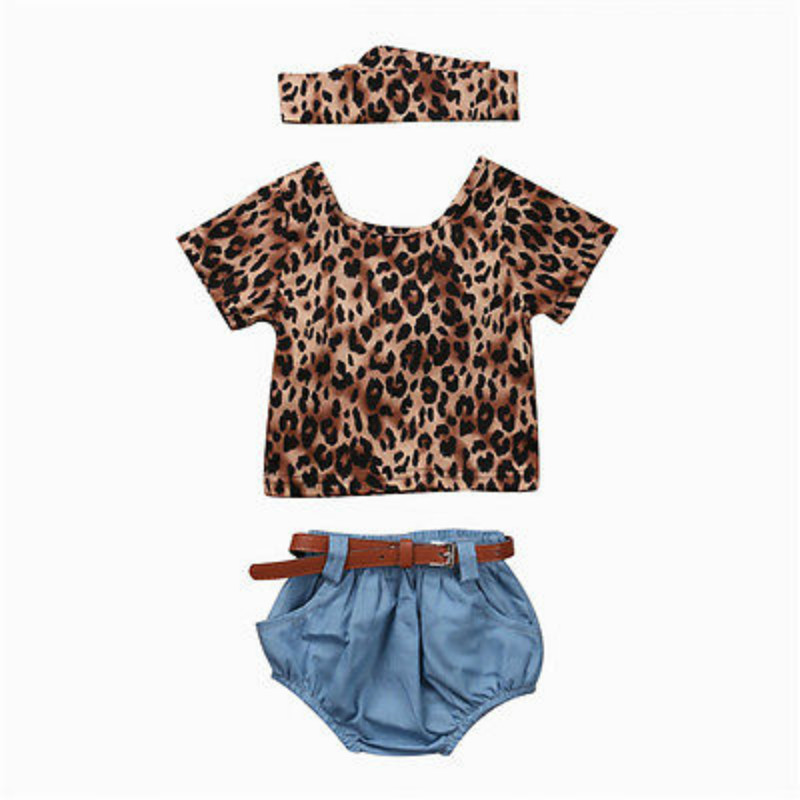 4PCS Newborn Infant Baby Girls Leopard Short Sleeves Ruffles Blouse Tops+Denim Shorts Romper Headhand Belt Jeans Clothes Outfits 3pcs set newborn infant baby boy girl clothes 2017 summer short sleeve leopard floral romper bodysuit headband shoes outfits