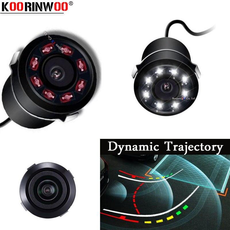 Koorinwoo Auto Dinâmico Movimento Trajetória Guia de Linha Tronco 8 Luzes do IR Câmera de visão Traseira Do Carro de Backup Reversa Sistema de Visão Noturna