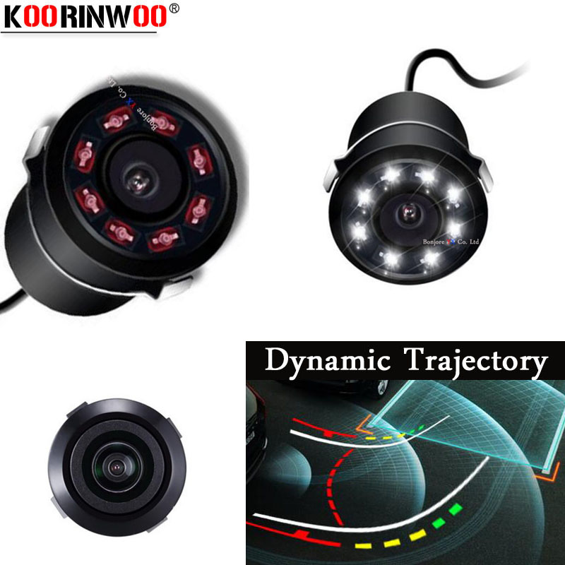 Koorinwoo Auto Dynamic Trajectory Moving Line Guide Trunk Car Rear view Camera Backup 8 IR Lights Reverse System Night Vision