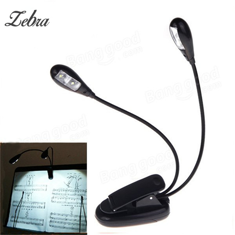 Zebra Adjustable 2 Dual Arms 4 LED  Goosenecks Clip On LED Lamp For Music Stand And Book Reading Guitar Sheet Music Accessories