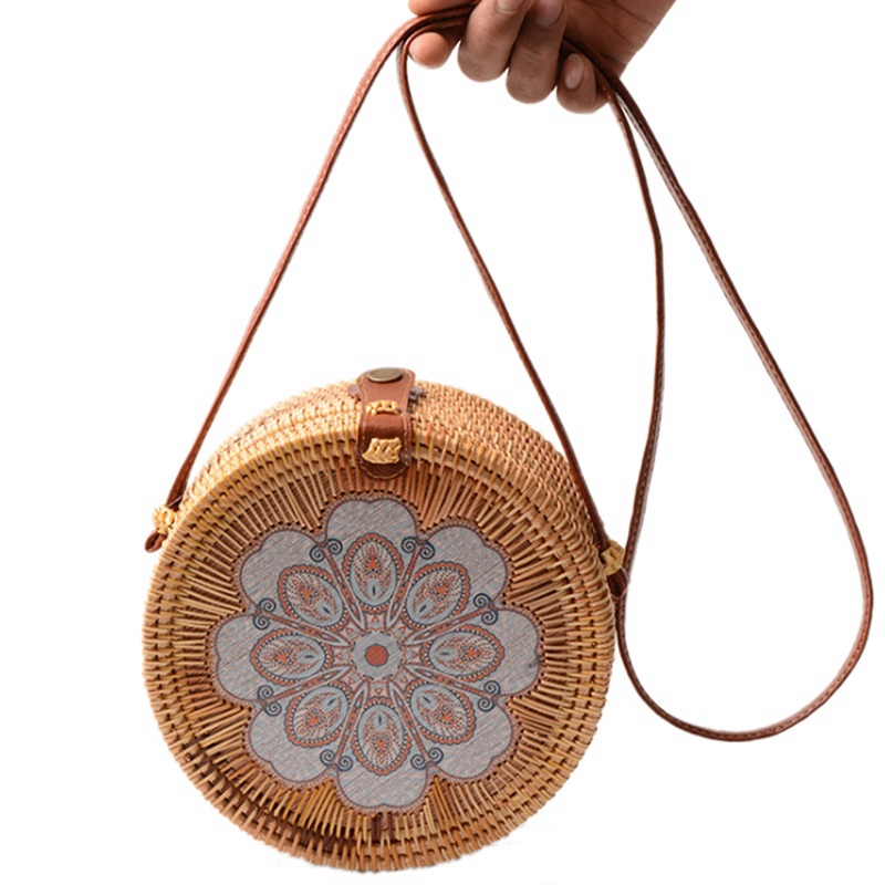 Printing Round Rattan Crossbody Bag,Straw Boho Bag For Women Purse Handmade Clutch Women Shoulder Bag,Rain