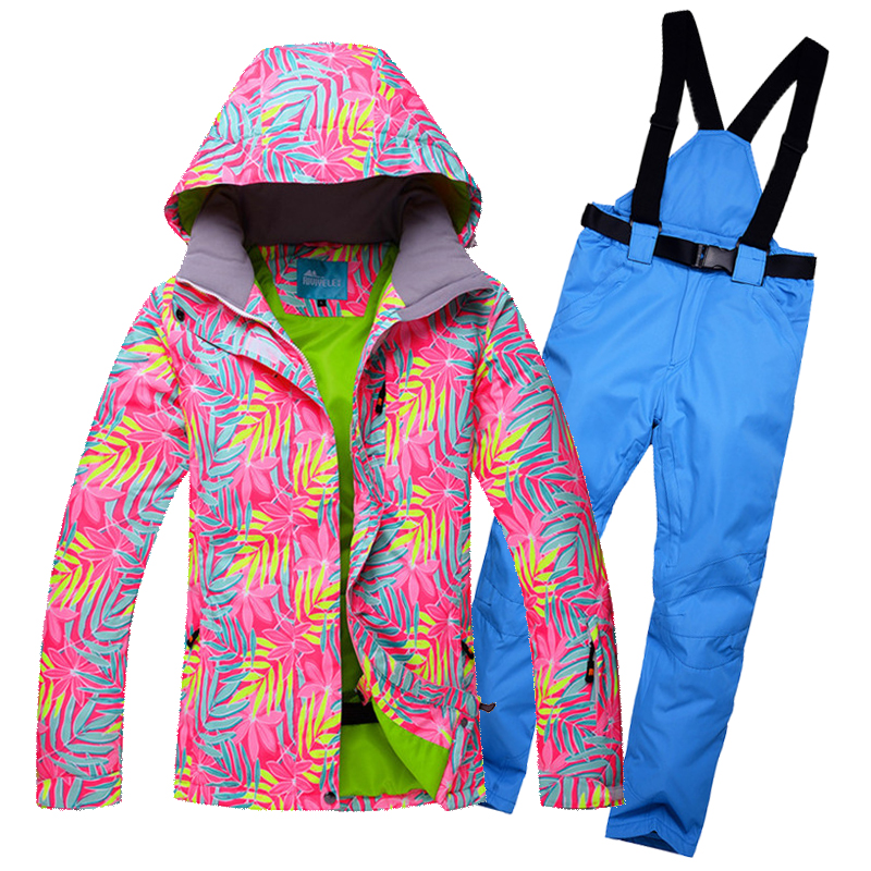 2017 Women Ski Suit Winter Suit Windproof Waterproof Outdoor Sport Wear Skiing Snowboard Jacket Pant Thermal Riding Hooded Suit le suit women s water lilies woven pant suit with scarf
