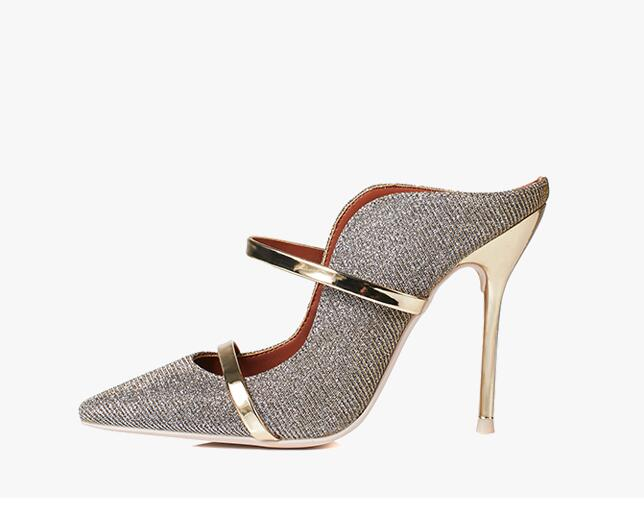 BONJEAN Sexy Pointed Toe Woman Thin Heel Shos Glitter Embellished Cutouts High Heel Slippers Mixed Colors Party Dress Heels
