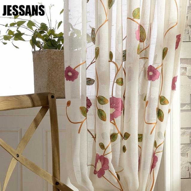 Hilo de flores cortinas para Living comedor dormitorio Terylene ...