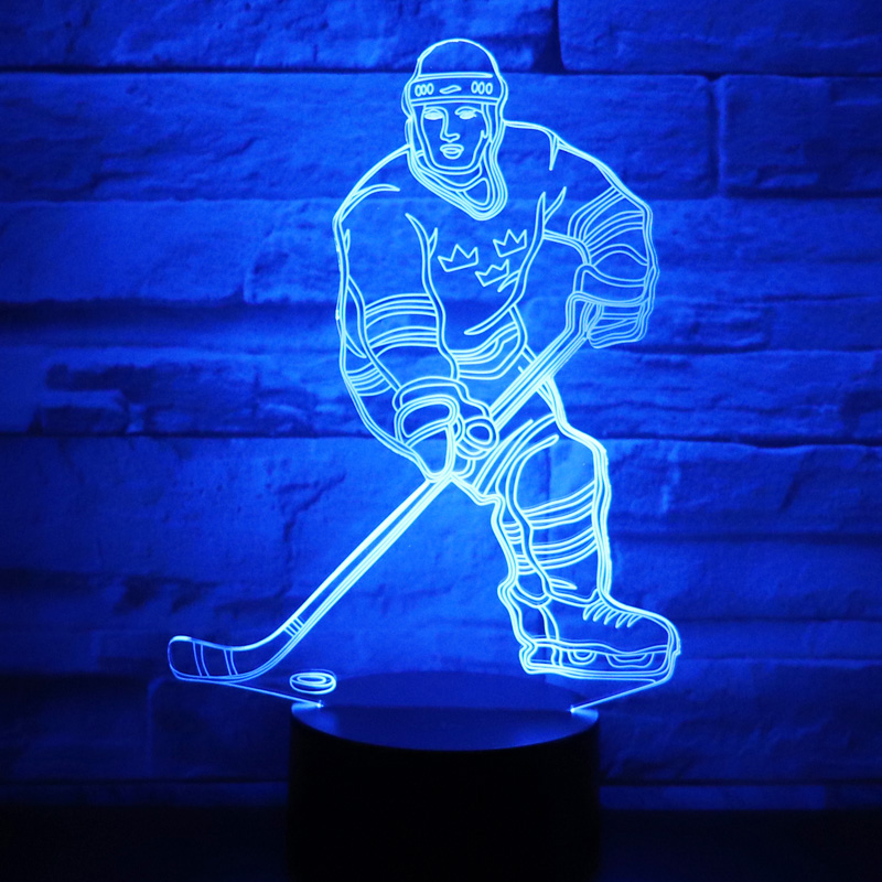 3D LED Night Light Play Ice Hockey Come with 7 Colors Light for Home Decoration Lamp Amazing Visualization Optical Illusion 3D LED Night Light Play Ice Hockey Come with 7 Colors Light for Home Decoration Lamp Amazing Visualization Optical Illusion