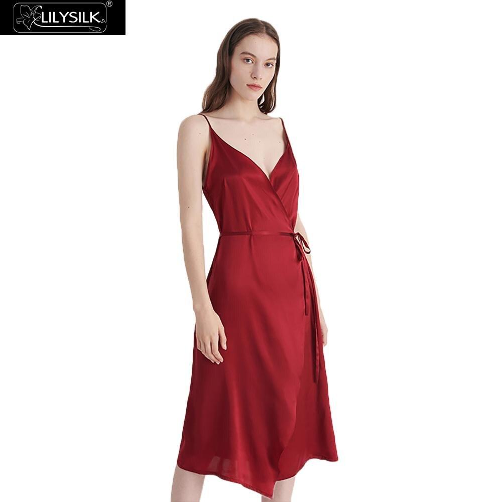 LilySilk Dress Women Summer 16MM V Neck Tie Waist Silk Evening Ladies Free Shipping